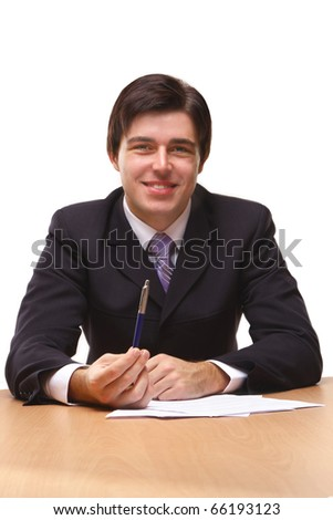 Businessmen with contract - stock photo