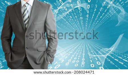 Businessmen with glow figures - stock photo