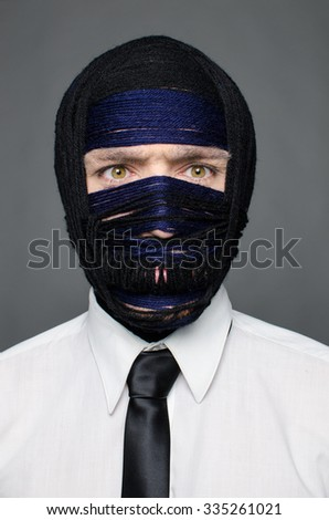 businessmen with threads on head