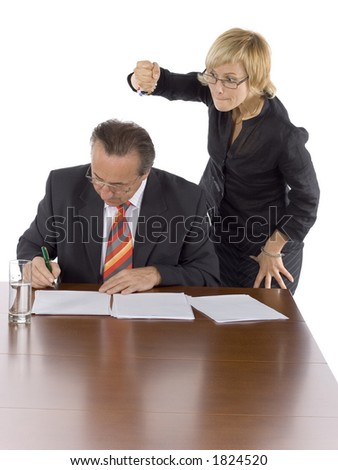 businesspeople at the wood desk - kill the boss!