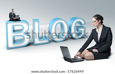 businesspeople connect to virtual 3d blog