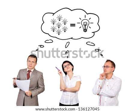 businesspeople dreaming on white background