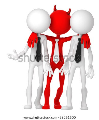 Businesspeople having deal with Devil. Risky business concept - stock photo