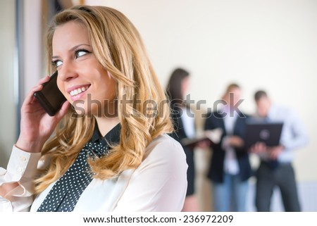 businesspeople in group communication/businesspeople - stock photo