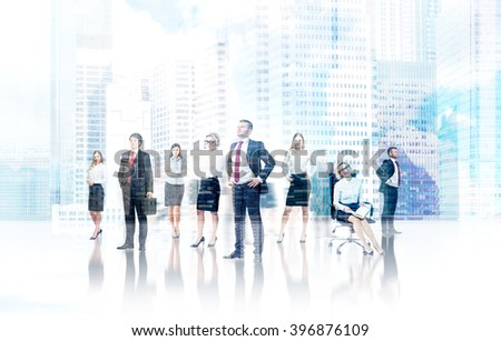 Businesspeople in office, office and city view. Double exposure. Concept of communication - stock photo