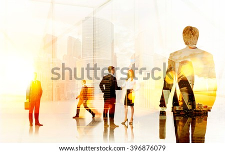 Businesspeople in office, office and city view. Double exposure. Toned, filter. Concept of communication - stock photo