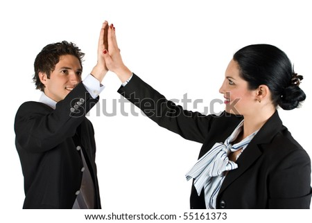 Businesspeople man and woman giving each other high five for successful business isolated on white background - stock photo