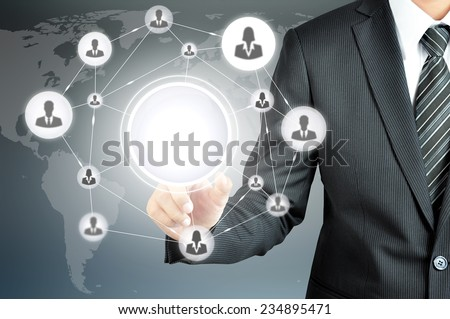 Businesspeople network on virtual screen with empty circle in the middle  -can put ur texts or pictures inside - stock photo