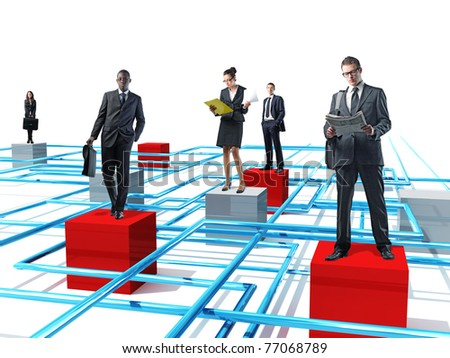businesspeople on 3d virtual connection - stock photo