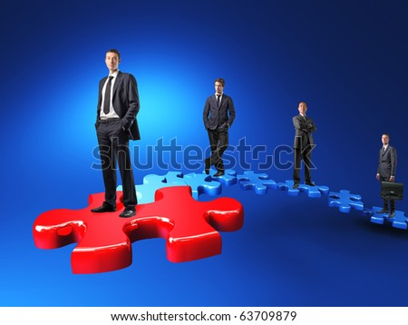 businesspeople on jigsaw stair 3d - stock photo