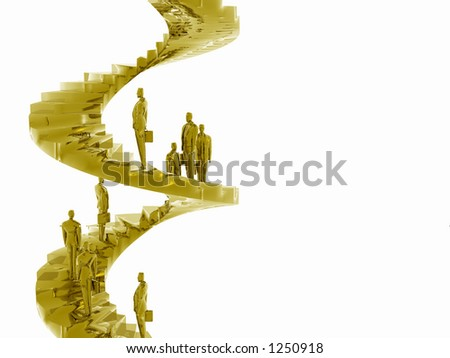 Businesspeople on the corporate ladder. Career concept. 3D illustration background, copy space, clipping path. - stock photo