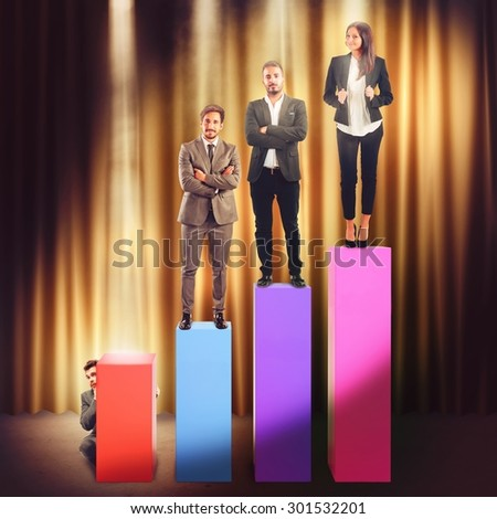 Businesspeople on the steps of a statistic - stock photo