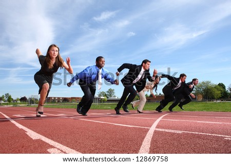 Businesspeople race on track - stock photo