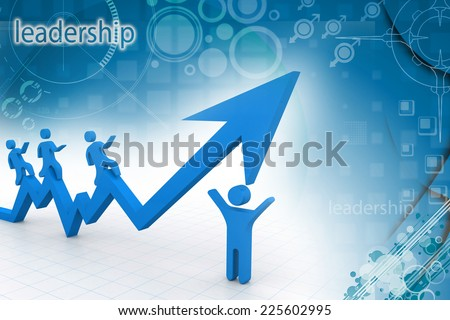 Businesspeople running over graph arrows - stock photo