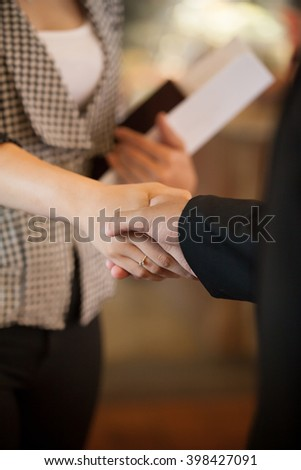Businesspeople shaking hands. - stock photo