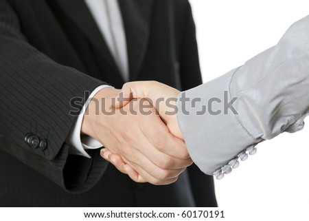 businesspeople shaking hands isolated on the white background - stock photo