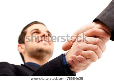 Businesspeople shaking hands. Isolated on white. - stock photo