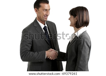 Businesspeople Shaking Hands, White Background - stock photo