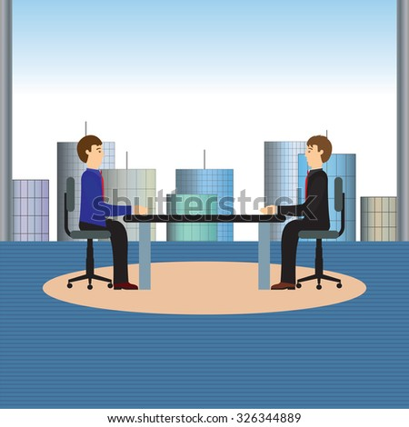 Businesspeople sitting at the table. Negotiations, discussion.