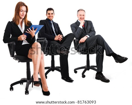 Businesspeople sitting on chairs
