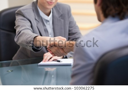 Businesspeople sitting while shaking hands in an office