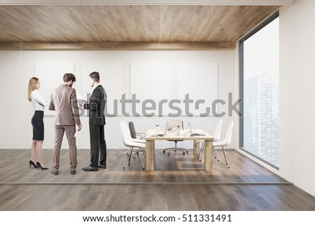Businesspeople talking in conference room with glass walls, four vertical posters and a wooden ceiling. Concept of modern interior design. 3d rendering. Mock up