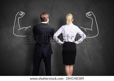 businesspeople with drawing symbolizing power of a team - stock photo