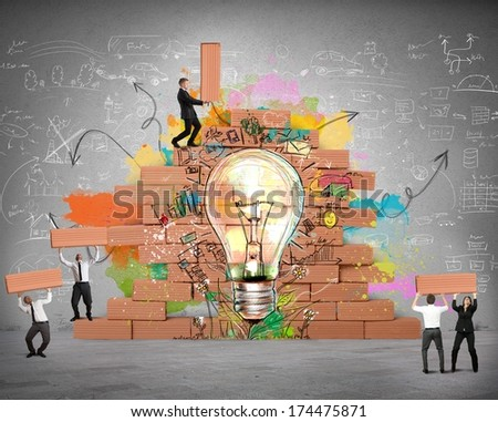 Businesspeople works together for a new creative idea - stock photo