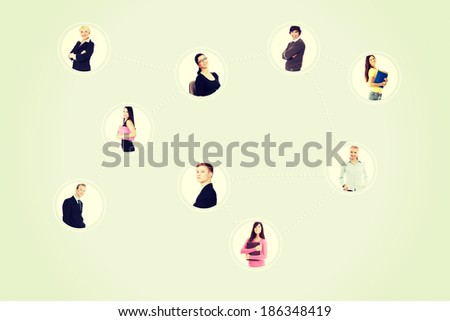 Businesspeoples portraits bounded with a computer network. - stock photo