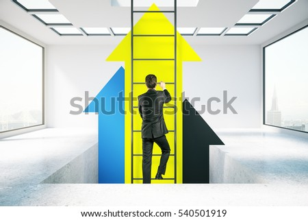 Businessperson in concrete room climbing abstract ladder with yellow arrows. Success concept. 3D Rendering