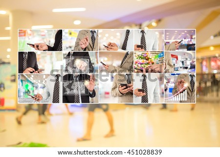 Businessperson in shopping mall.