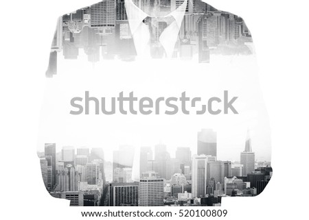Businessperson in suit on abstract city background. Double exposure