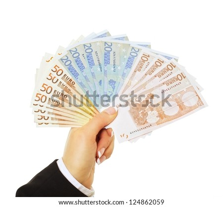 Businessperson paying in euro isolated on white background - stock photo