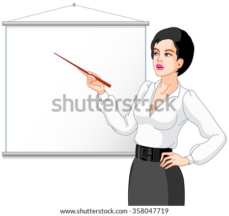 Businessperson presenting on a white board - stock photo