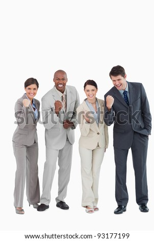 Businessteam being aggressive against a white background - stock photo