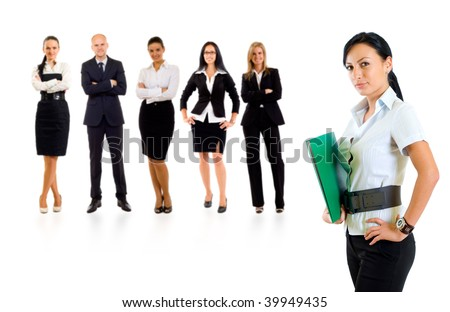 businessteam with a businesswoman leading it - isolated over a white background