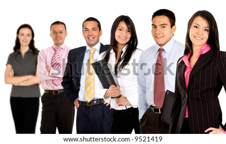 businessteam with business partners leading it - isolated over a white background - stock photo