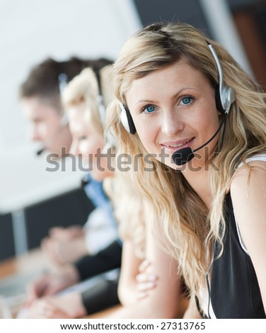 Businessteam with headseats - stock photo