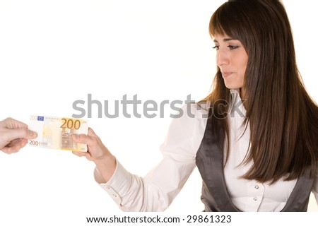 Businesswoman and a man's hand are fighting over 200 EUROS. Pulling in each direction. White background. - stock photo