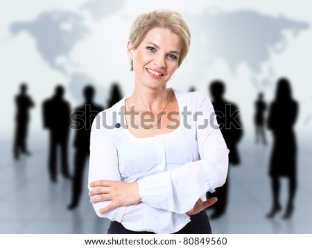 businesswoman and abstract team - stock photo
