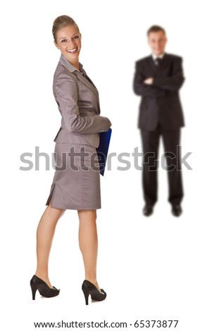 Businesswoman and businessman on white