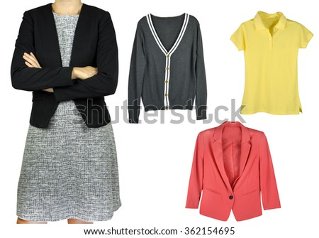 businesswoman and cloth isolated - stock photo