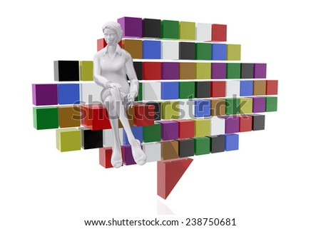 Businesswoman and communication symbol - stock photo