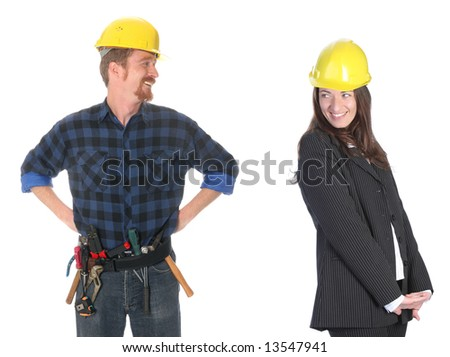 businesswoman and construction worker , couple in passionate on workplace