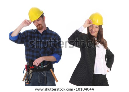 businesswoman and construction worker with architectural plans