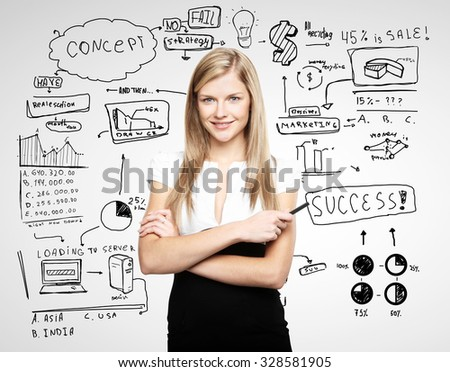 businesswoman and drawing business concept on gray background - stock photo