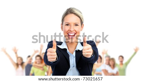 Businesswoman and  group of young happy business people - stock photo
