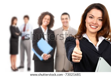 Businesswoman and  group of young smiling business people - stock photo
