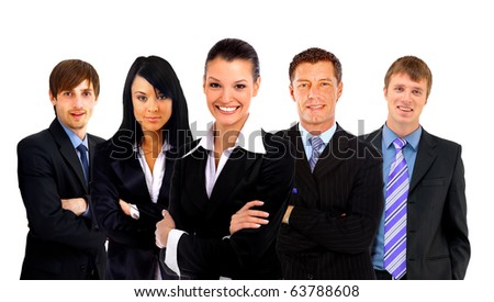 businesswoman and his team - stock photo