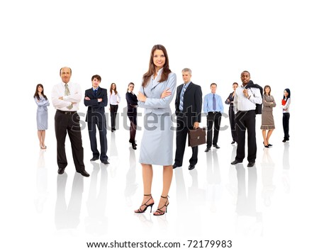 businesswoman and his team isolated over a white background - stock photo